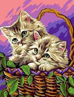 """Картина по номерам """"Котята в лукошке"""" (300х400 мм)"""