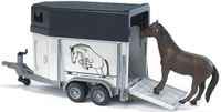 """Модель машины """"Bruder. Прицеп-коневозка с лошадью"""" (масштаб: 1/16)"""