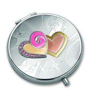 "Зеркало карманное со стразами ""Два сердца"""