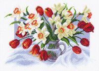 """Канва с нанесенным рисунком """"Весенние цветы"""""""