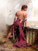 """Канва с нанесенным рисунком """"Девушка в красном"""""""