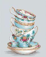 """Вышивка крестом """"Бирюзовые чайные чашки"""" (175х235 мм)"""
