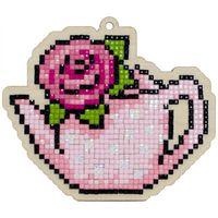 """Алмазная вышивка-мозаика """"Брелок. Чайник с розой"""" (110х94 мм)"""