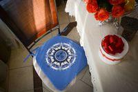 "Подушка на стул ""Стороны Света"" (41х26 см; голубая)"