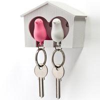 """Брелок-свисток и держатель двойной для ключей """"Sparrow"""" (белый/розовый)"""