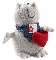 """Мягкая игрушка """"Кот серый с сердцем"""" (23 см)"""