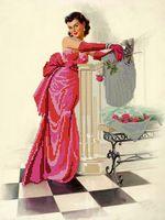 """Канва с нанесенным рисунком """"Девушка с розой"""""""