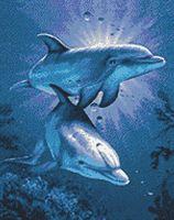 """Алмазная вышивка-мозаика """"Свидание дельфинов"""" (380х480 мм)"""