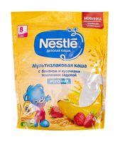 """Детская каша Nestle """"Молочная мультизлаковая с бананом и кусочками земляники"""" (220 г)"""