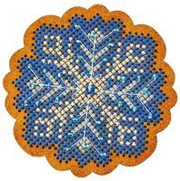 """Вышивка крестом """"Новогодняя игрушка. Морозный узор"""" (65х65 мм)"""