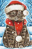 "Алмазная вышивка-мозаика ""Новогодний котик"" (200х300 мм)"