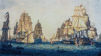 """Вышивка крестом """"Корабли в Алжире"""" (510х275 мм)"""