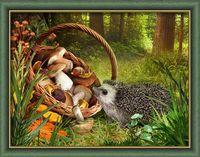 """Алмазная вышивка-мозаика """"Ёжик в лесу"""" (400х300 мм)"""