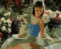 """Картина по номерам """"В саду за книгой"""" (400х500 мм; цветной холст)"""