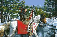"""Канва с нанесенным рисунком """"Индеец на коне"""""""