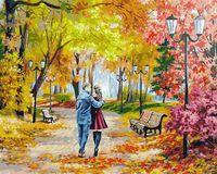 """Картина по номерам """"Осенний парк, скамейка, двое"""" (400х500 мм)"""