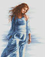 """Вышивка крестом """"Девушка в голубом"""" (390х460 мм)"""