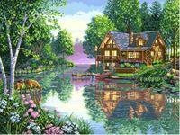 """Канва с нанесенным рисунком """"Домик у озера"""""""
