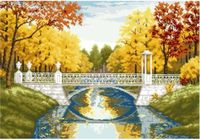 """Канва с нанесенным рисунком """"Мост в парке"""""""