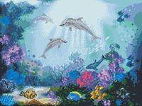 """Вышивка крестом """"Дружба дельфинов"""" (280х380 мм)"""