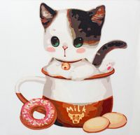 "Картина по номерам ""Котенок в чашке №1"" (250x250 мм; арт. MB055)"
