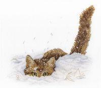 """Вышивка крестом """"Кот в снегу"""" (200х250 мм)"""