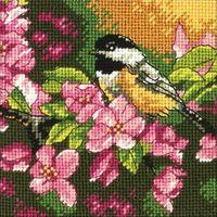 """Вышивка крестом """"Пташка в розовом"""" (130х130 мм)"""