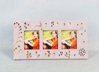 Фоторамка деревянная на 3 фотографии (розовая)
