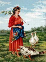 """Вышивка крестом """"Маковский. Девочка с гусями"""" (355х465 мм)"""