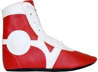 Обувь для самбо SM-0102 (р.34; кожа; красная)
