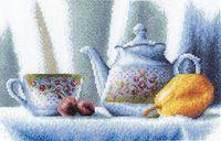"""Вышивка крестом """"Чайник в цветочек"""""""
