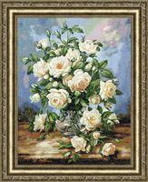 "Вышивка крестом ""Букет белых роз"" (435х338 мм)"