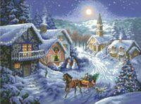 """Канва с нанесенным рисунком """"Накануне Рождества"""""""