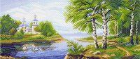 """Канва с нанесенным рисунком """"На берегу реки"""""""