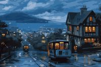 "Картина по номерам ""Ночной трамвай"" (500x650 мм; арт. MMC082)"