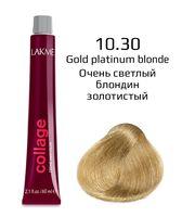 """Крем-краска для волос """"Collage Creme Hair Color"""" (тон: 10/30, очень светлый блондин золотистый)"""