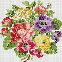 """Алмазная вышивка-мозаика """"Вальс цветов"""" (300х300 мм)"""