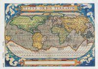 """Бумага для декупажа рисовая """"Старинная карта мира №3"""" (210х290 мм)"""