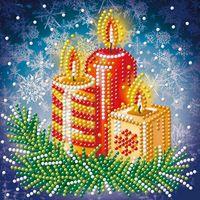 """Алмазная вышивка-мозаика """"Новогодние свечи"""""""