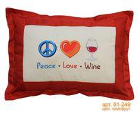 "Подушка ""Peace. Love. Wine"" (54x39 см; арт. 01-249)"