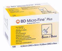 Иглы к шприц-ручкам BD Micro-Fine Plus 30G (0,30х8мм) №100