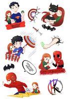 """Глянцевые наклейки для оформления подарков """"Супергероям"""""""