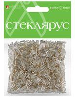 Стеклярус прозрачный с серебристым центром №1 (серебряный; 6 мм)