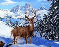 """Картина по номерам """"Олень в зимнем лесу"""" (400х500 мм)"""