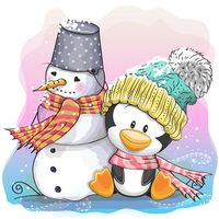 """Репродукция на холсте """"Пингвин и снеговик"""""""