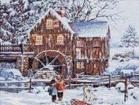 """Вышивка крестом """"Мельница в снегу"""" (400х310 мм)"""