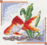 """Вышивка крестом """"Золотая рыбка"""" (140x140 мм)"""