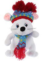 """Мягкая игрушка """"Мышка в шапке с двумя помпонами"""" (15 см)"""