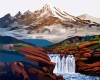"""Картина по номерам """"Водопад в горах"""" (400x500 мм)"""