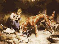 "Картина по номерам ""Девушка с животными"" (400x500 мм)"